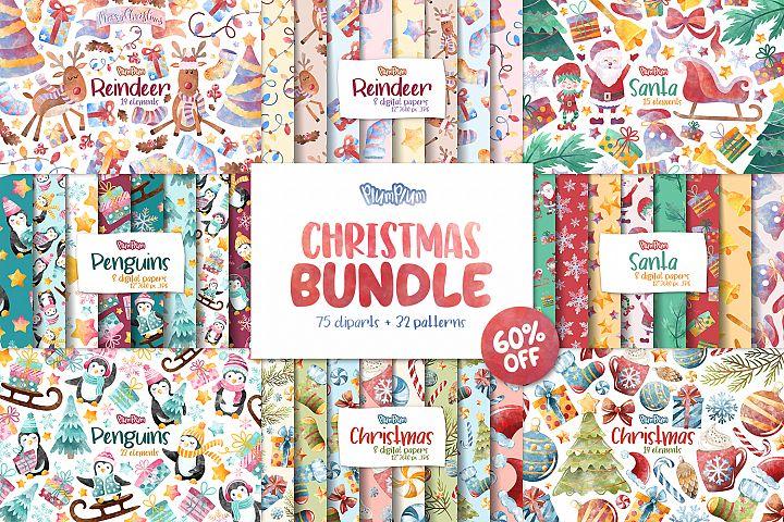 Christmas Clipart & Pattern Bundle