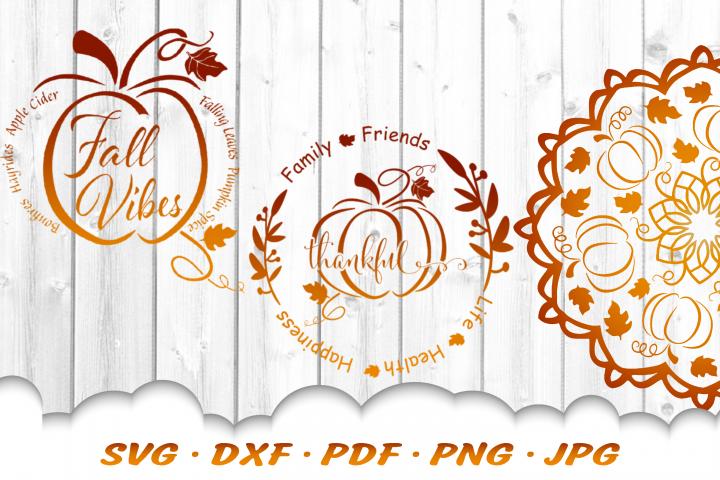 Fall Pumpkin Sign Mandala SVG DXF Cut Files Bundle