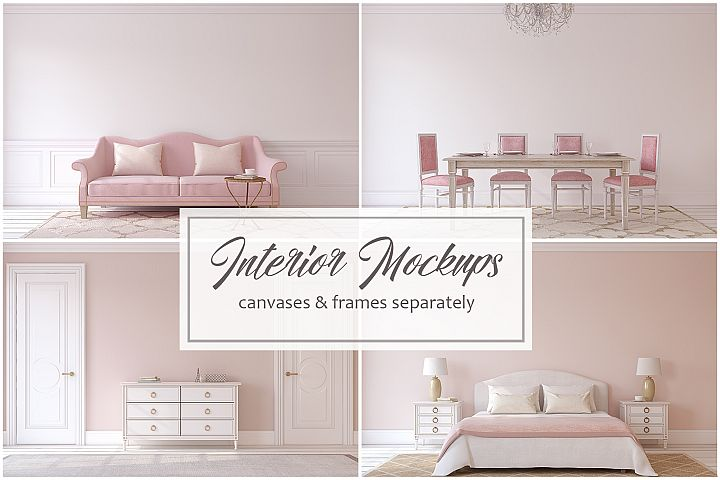 Pink Interiors. Frames&Canvases Mockup.
