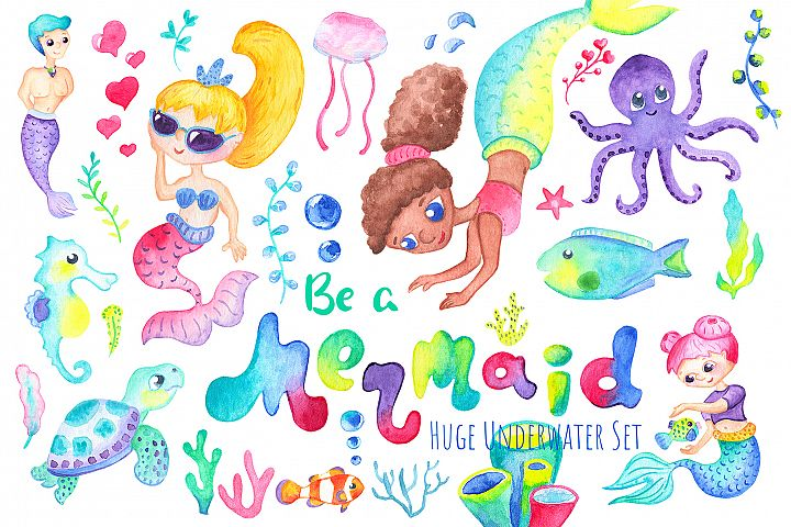 Be A Mermaid Watercolor Clipart