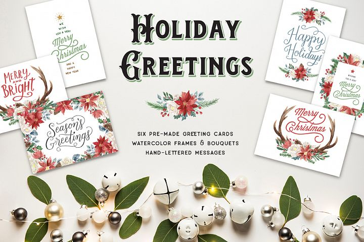 Holiday Greeting Cards and Clip Art Set