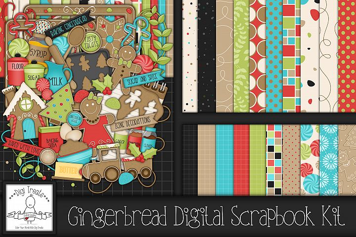 Gingerbread Digital Scrapbook Kit.