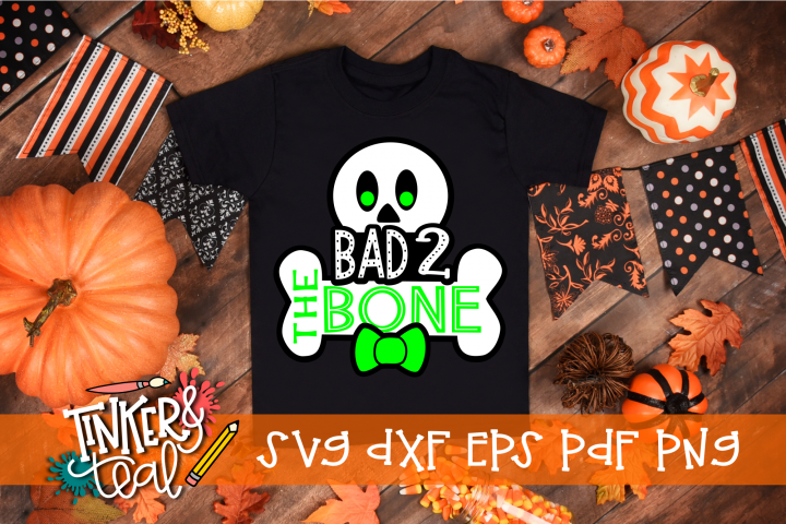 Bad 2 the Bone Halloween Boy Skeleton SVG
