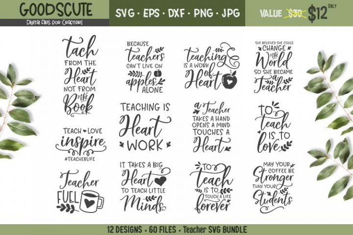 12 Teacher Quotes SVG Bundles - SVG DXF JPG PNG EPS