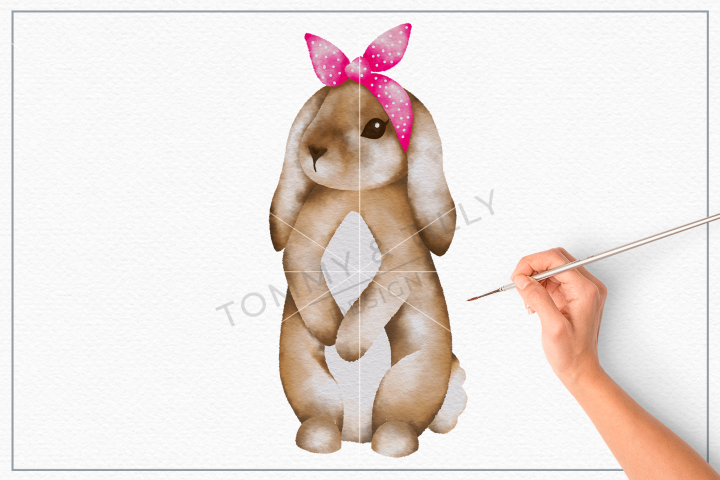 Bunny Pink Bandana No.2 - Sublimation PNG Clipart