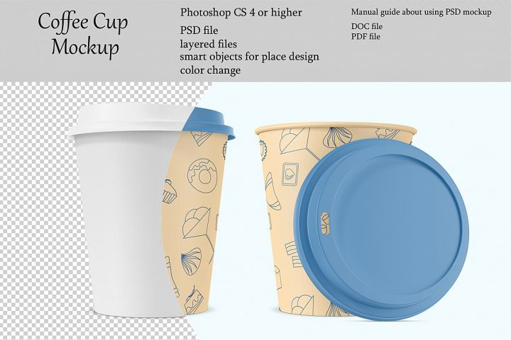Coffee cup mockup. Product place. PSD object mockup.