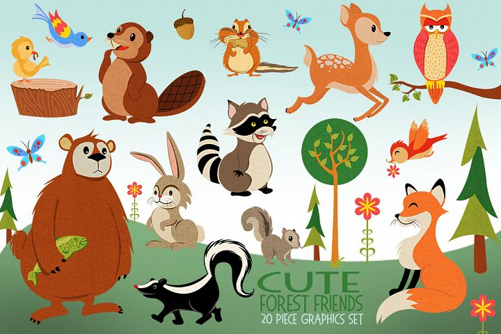 Woodland Animals Cute Clip Art