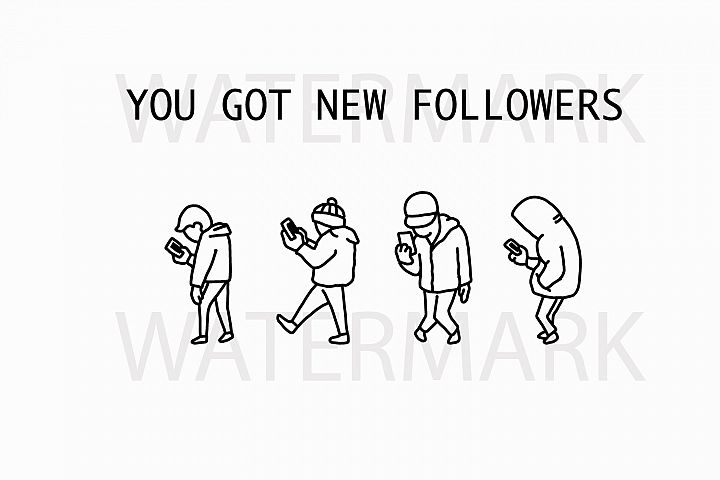 Zombie Apocalypse of walking smartphone people - SVG/JPG/PNG Hand Drawing