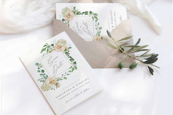 Cream Roses Save the Date Template