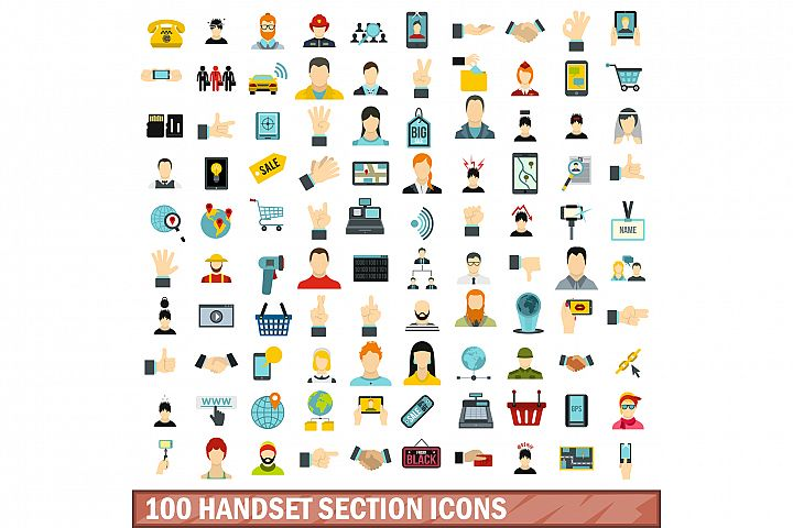 100 handset section icons set, flat style