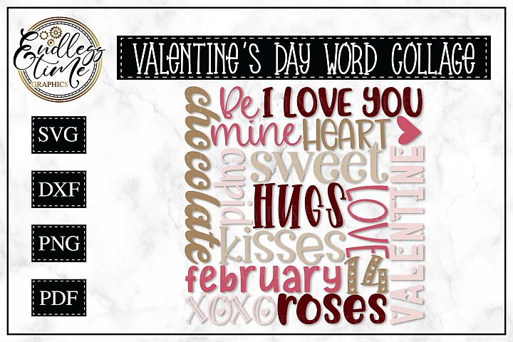 Valentines Day Word Collage -- Subway Art SVG