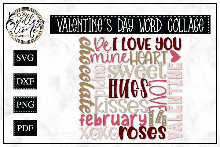 Valentines Day Word Collage -- Subway Art SVG
