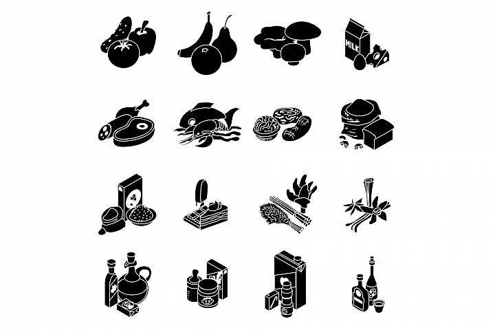Shop navigation foods icons set, simple style