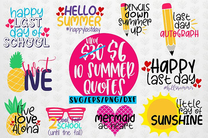 Summer Svg Bundles - 10 Svg EPS DXF PNG Cut File