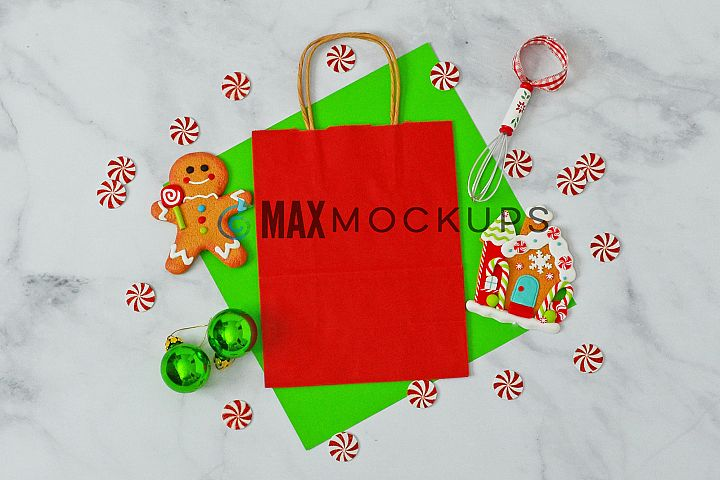 Red gift bag Mockup, Christmas gingerbread, styled photo