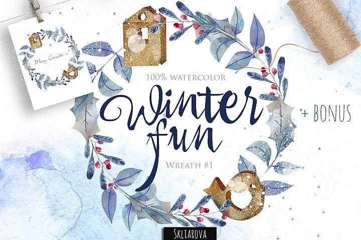Winter fun. Wreath #1
