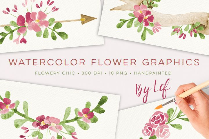 Watercolor floral illustrations, wreaths and laurels