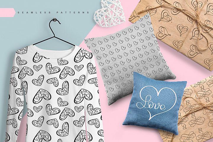 Lovingly Symbol Flourish Hearts Font example image 6