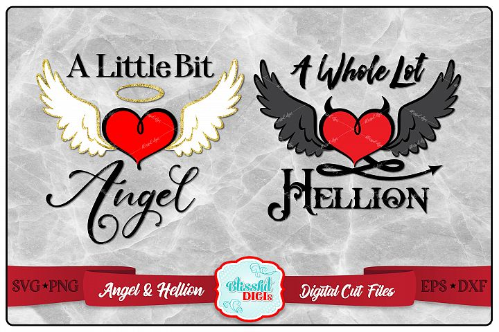 Angel & Hellion - Digital Cut File - SVG, EPS, DXF, PNG