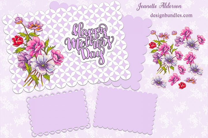 3D Vintage flower decoupage card