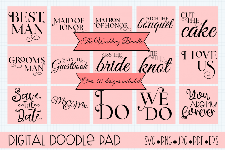 Wedding Bundle SVG files for Silhouette & Cricut