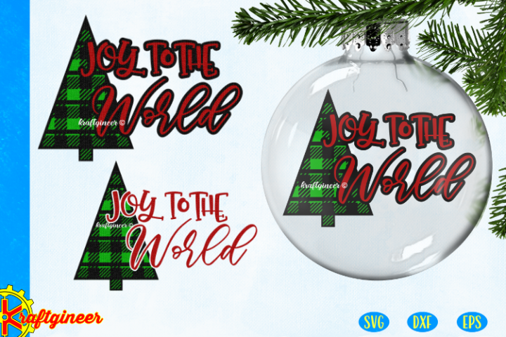 Christmas SVG - Joy Plaid Tree CUT FILE, DXF, EPS. Plaid SVG