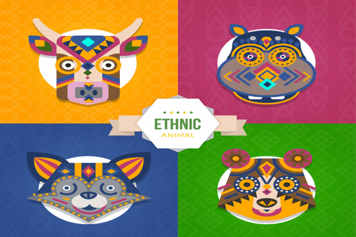 Creative tribal pattern animal avatar vector