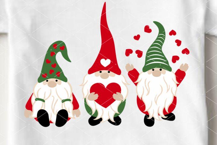 Valentines day decor 3 Gnomes svg Birthday vector Cricut