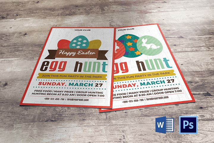 Easter Egg Hunt Party Flyer/Invitation Template