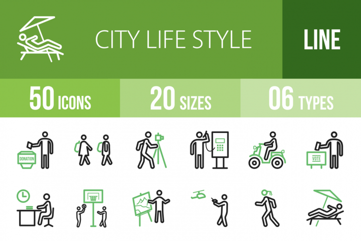 50 City Lifestyle Line Green & Black Icons