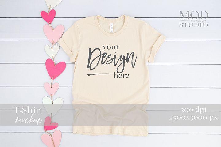 T-Shirt Mock up SOFT CREAM  3001 Bella and Canvas Mockup