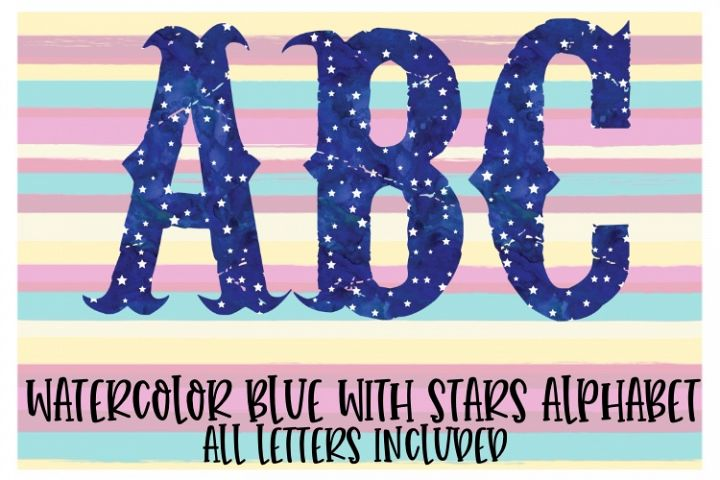 Watercolor Blue Star Alphabet Sublimation Digital Download