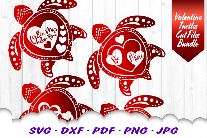 Valentines Sea Turtle Hearts SVG DXF Cut Files Bundle