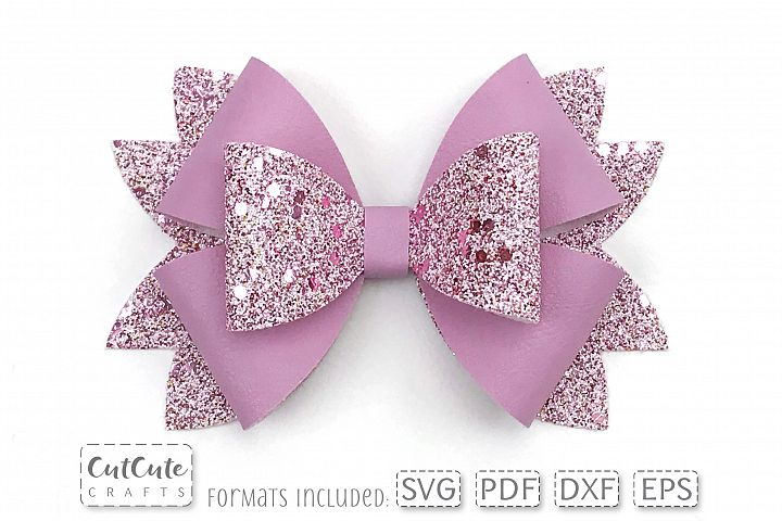 Rich Double Bow SVG cut files, Bow template