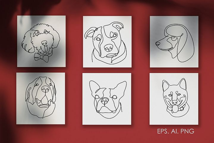 16 Dogs line drawings. Dog breeds