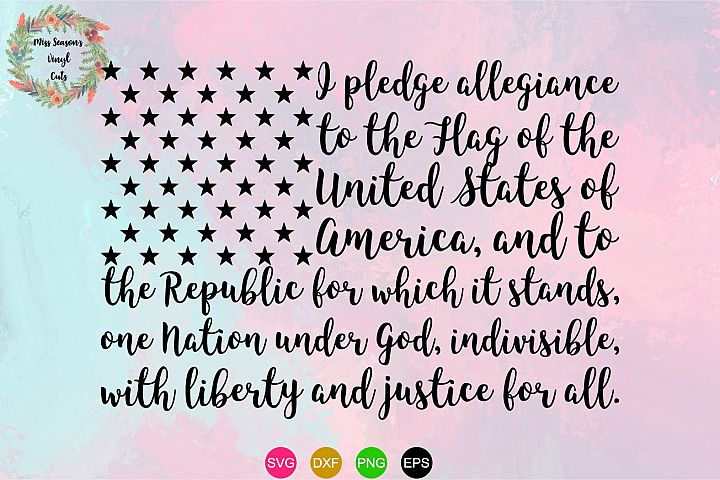 USA Pledge SVG Png Dxf EPS