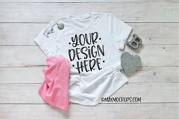 White t-shirt mockup Bella Canvas, with silver and pink