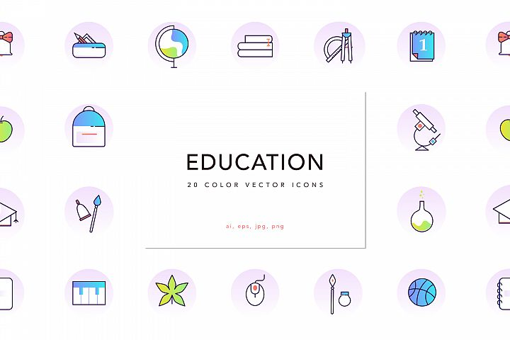 School & Education Color Line Icons