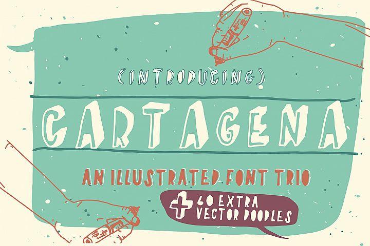 Cartagena Hand Drawn Font Trio