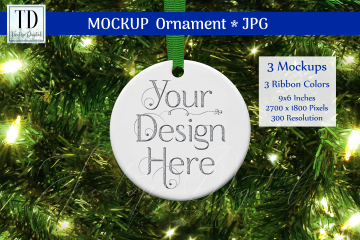 Round Christmas Ornament Mockups, Bauble Mock-Up Green, JPG