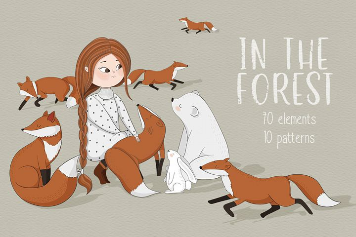 In the forest. Vector clipart