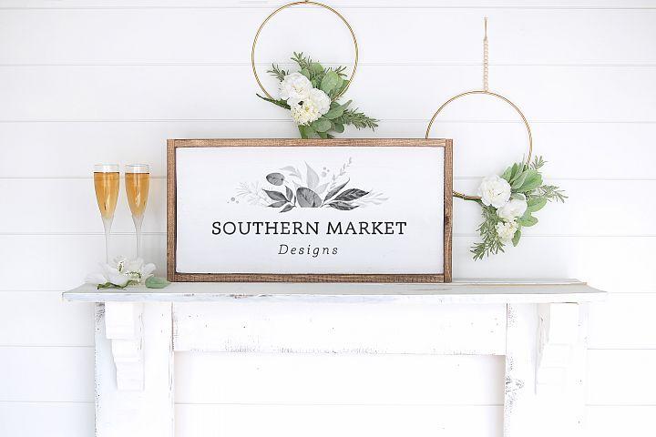 12x24 Wood Framed Wedding Styled Mock Up Stock Photo