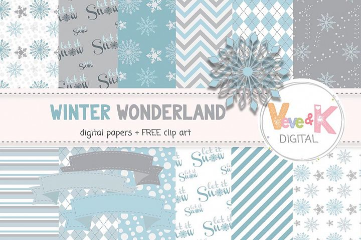 Snowflakes Clip Art, Snowflake Digital Papers, Winter Wonderland, Winter Digital Papers, Instant Download Scrapbooking Winter