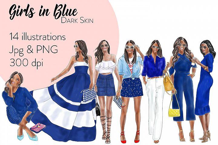 Fashion illustration clipart - Girls in Blue - Dark skin