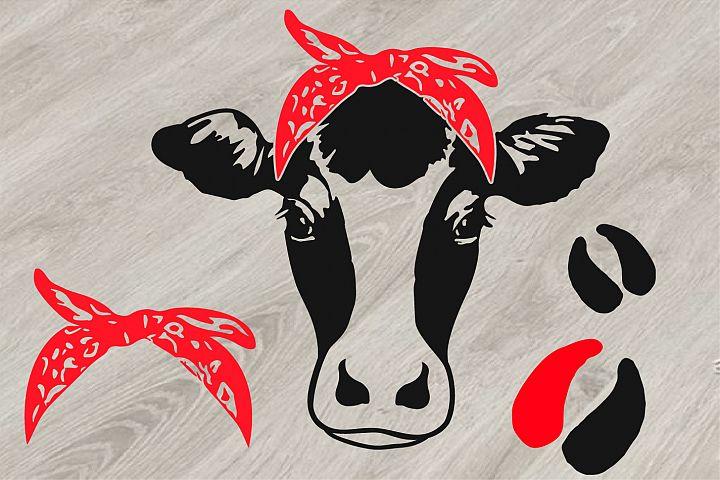 Cow Head whit Bandana SVG,cowboy SVG, western Farm Milk 814S