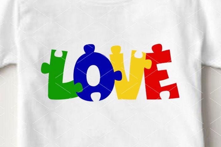 Love sign Autism clip art Pazzle Lettering svg Cricut