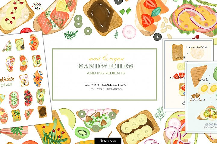 Sandwiches. Food clipart collection.