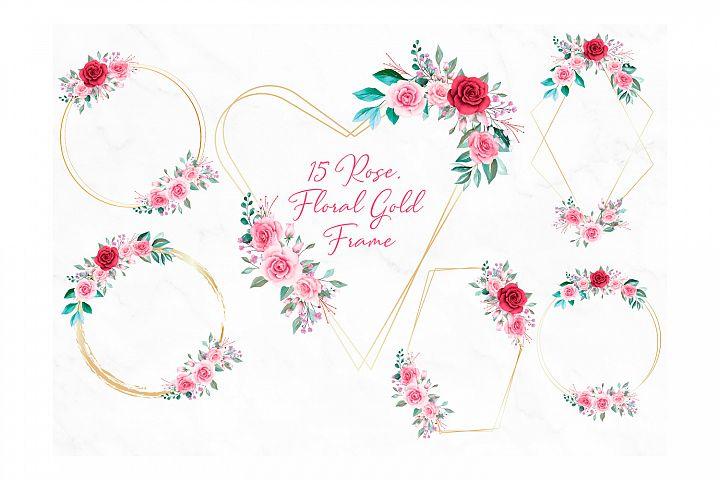 Rose Floral Gold Frame Clipart PNG, Flower Geometric Frame