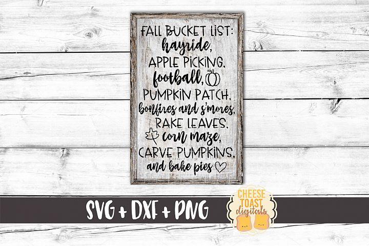 Fall Bucket List - Fall Sign SVG PNG DXF Cut Files