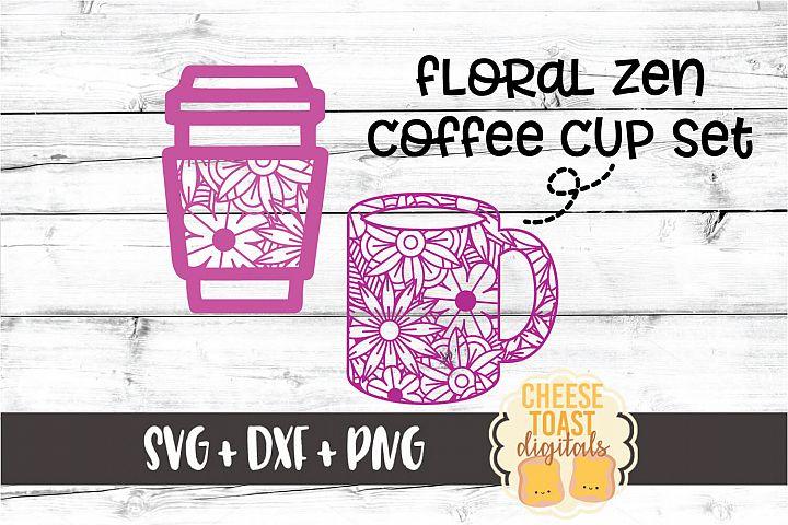 Floral Zen Coffee Cup Set - 2 Designs SVG PNG DXF Cut Files